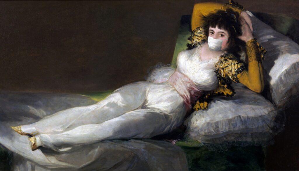 Maja vestida de Goya con mascarilla (imagen de Tumisu - Pixabay)