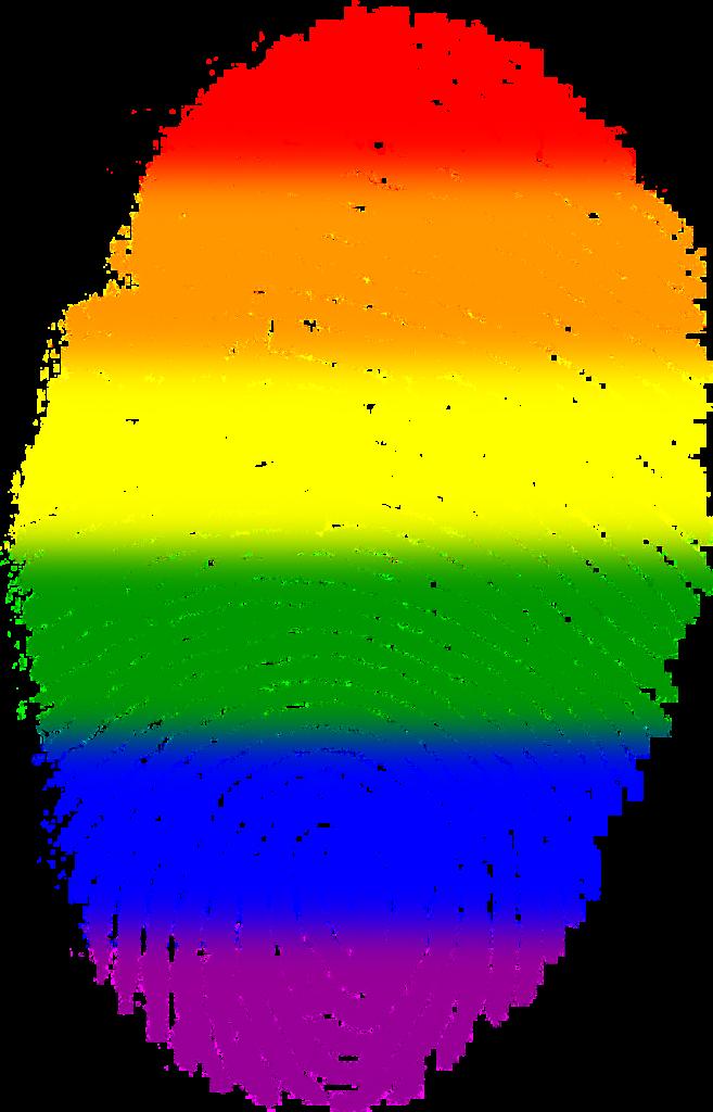 huella digital con colores del arcoíris